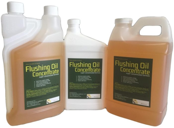 Flushing Oil Concentrate frees sticking piston rings, completely desludges engines